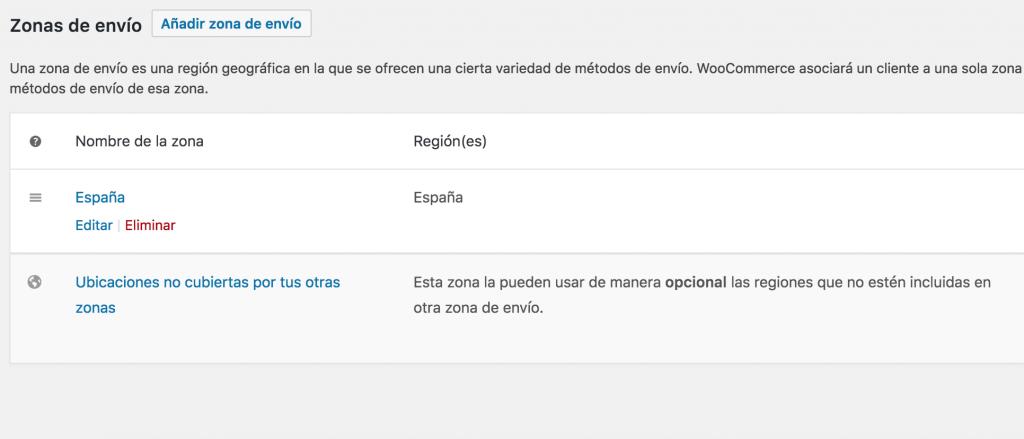 configuración de envio en una tienda online