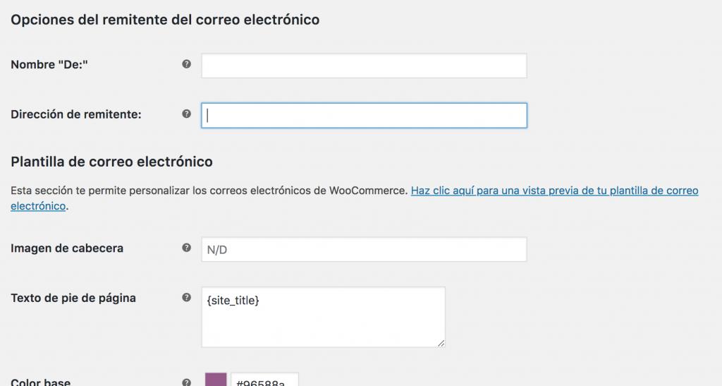 opciones de correo electronico woocommerce
