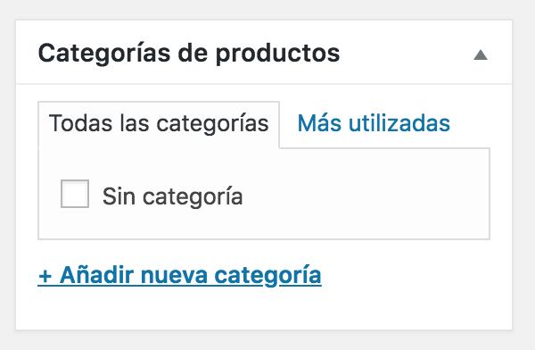 categorias de producto woocommerce